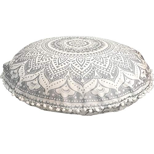 Stylo Culture Ethnic Bohemian Floor Cushion For Kids Throw Pillow Cover Silver 80x80 cm Meditation Mandala Large Pom Pom Lace Round Large 32 Inch Lounge Cotton Floral Seating Pouffe Cover