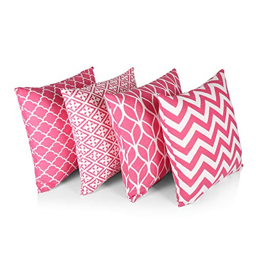 """Penguin Home® 100% Cotton Decorative Double Sided Square Cushion Covers with Invisible Zipper 45cm x 45cm x 18"""" (Set of 4, Hot Pink), 45x45 Cm"""