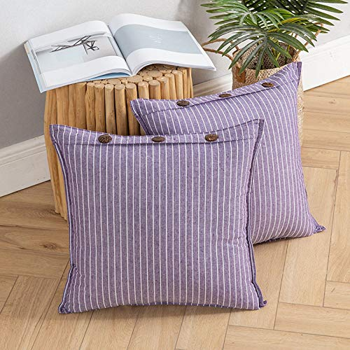 MIULEE Pack of 2 Button Cushion Cover Throw Pillow Case Cross Shape Faux Linen Square Home for Sofa Chair Couch Living Room Bedroom Decorative Purple 18 x 18 inch 45cm x 45cm