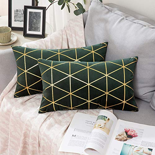 MIULEE Velvet Cushion Covers Gilded Modern Throw Pillow Cover Square Decorative Dark Green and Gold Pillows with Gold Lines Soft Home for Sofa Living Room Bedroom 12 x 20 Inch 30 x 50 cm Pack of 2