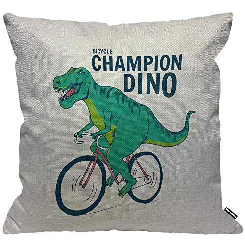 HGOD DESIGNS Cushion Cover Dinosaur T-rex Dinosaurs On Bicycle Champion Throw Pillow Cover Home Decorative for Men/Women/Boys/Girls living room Bedroom Sofa Chair 18X18 Inch Pillowcase