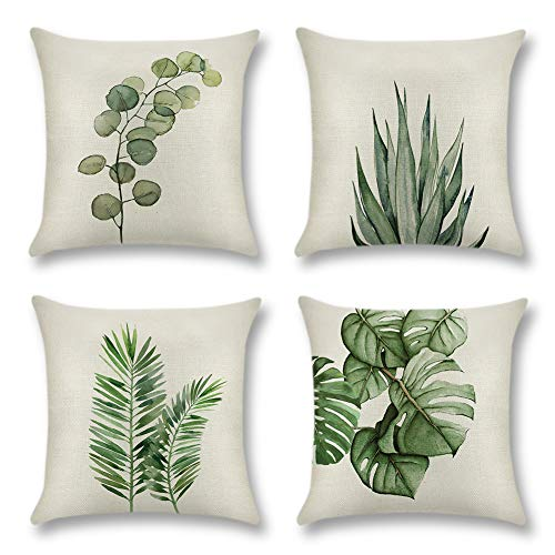 JOTOM Pack of 4 Decorative Cushion Covers Pillow Covers Square Pillowcase Throw Pillow Covers Home Decor for Sofa Car Bedroom 45 x 45 cm (Leaf B)