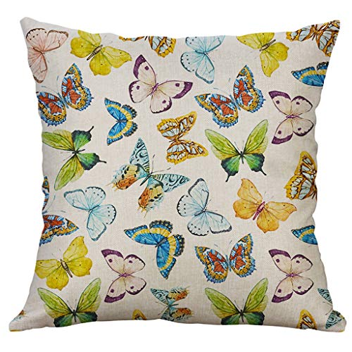 Sonojie Linen Series Butterfly Square Pillowcase Home Decorative Cushion Cover Livingroom Sofa Bedroom Pillow Cover 40x40cm 1 Piece