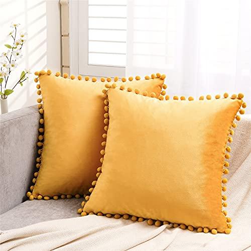 Topfinel Gold Velvet Cushion Covers 18x18 Inch Soft Square Decorative Throw Pillowcases for Livingroom Sofa Bedroom 45cmx45cm,Pack of 2