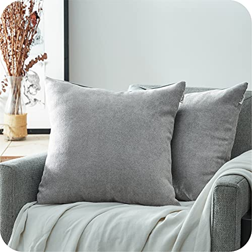 Topfinel Grey Chenille Cushion Covers 24x24 Inch Soft Square Decorative Throw Pillowcases for Livingroom Sofa Bedroom 60cmx60cm,Pack of 2