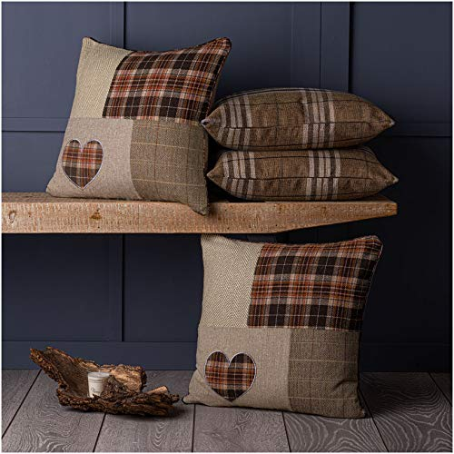 Red Rainbow Set of 4 Tartan Patchwork Heart & Tartan Check Brown Beige Collection 18' / 45 cm Cushion Covers
