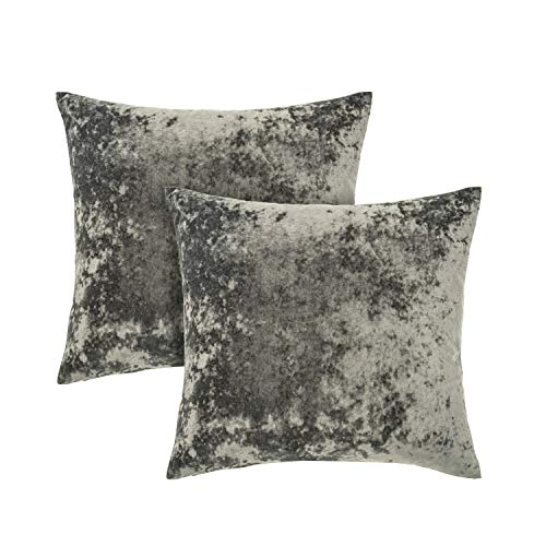 Amazon Brand – Umi Crushed Velvet Cushion Cover 2 Pack 45x45cm Soft Luxurious Square Throw Pillow Cover Decorative Pillowcase for Sofa Couch Bed Office (Dark Grey)