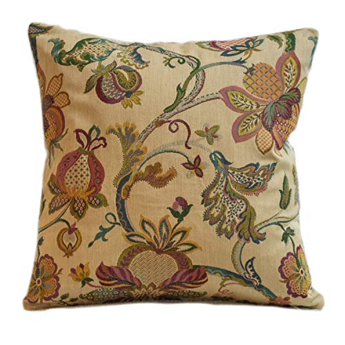 Traditional Tea Rose Heavyweight Tapestry Double Sided Cushion Cover. 17'x17' Square Pillow Cover. Victorian style floral botanical design leaves and flowers. Vintage colourway.