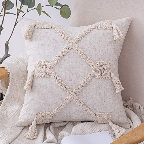 MIULEE Cushion Covers Bohemian Throw Pillow Case Tasseled Indian Embroidered Square Pillowcovers for Couch Livingroom Sofa Bed with Invisible Zipper 18x18 Inch 45x45cm White and Khaki