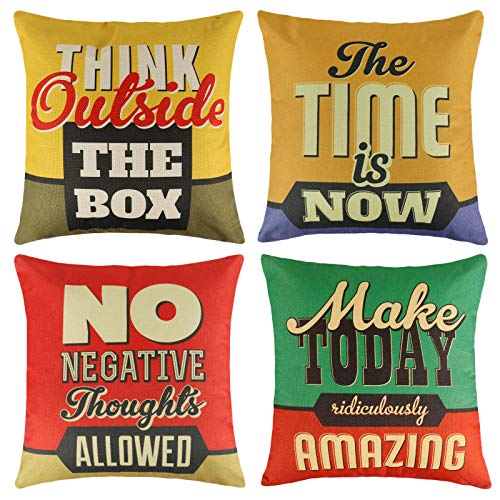 FengRise Throw Pillow Case Cushion Covers – 4Pcs Inspirational Words Quote Cotton Linen Throw Pillow Covers Set Square Decorative Pillowcase for Sofa Car Couch Bedroom Home Décor Indoor Outdoor