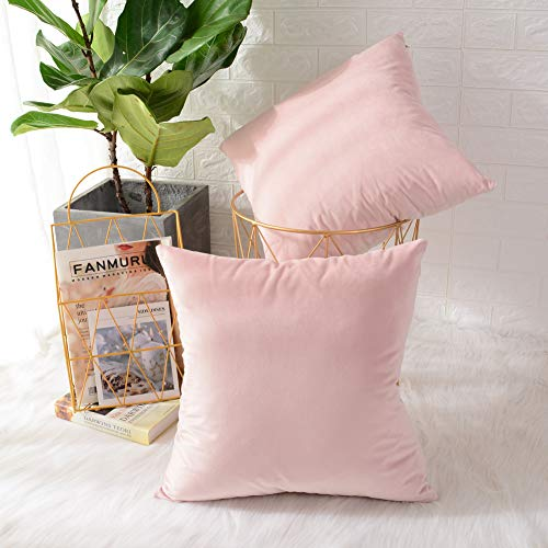 MERNETTE Pack of 2, Velvet Soft Decorative Square Throw Pillow Cover Cushion Covers Pillow case, Home Decor Decorations For Sofa Couch Bed Chair 18x18 Inch/45x45 cm (Light Pink)