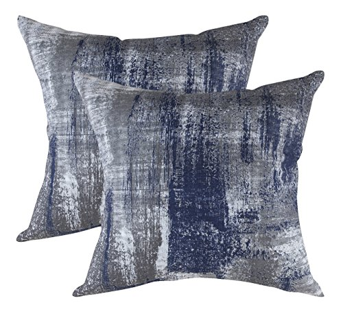 TreeWool, (2 Pack Cushion Covers Brush Art Accent in Cotton Canvas (55 x 55 cm / 22 x 22 Inches, Navy Blue)