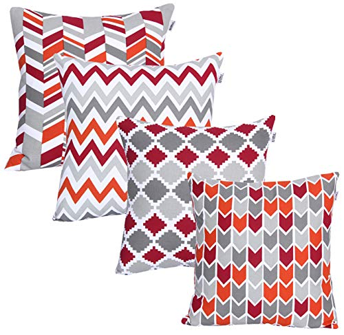 Amazon Brand-Umi Luxurious Printed Decorative Square 4pc Pack Cotton Cushion Pillow Covers for Home, Sofa, Couch, Chair 45x45 cm in - Red - Rust Color