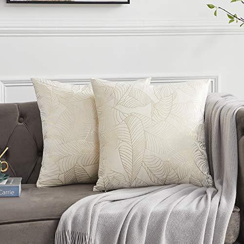 OMMATO Cream White Cushion Covers 20 x 20 inch Velvet Gold Leaves Decorative Square Throw Pillow Covers for Sofa Couch Bedroom 50cm x 50cm Set of 2