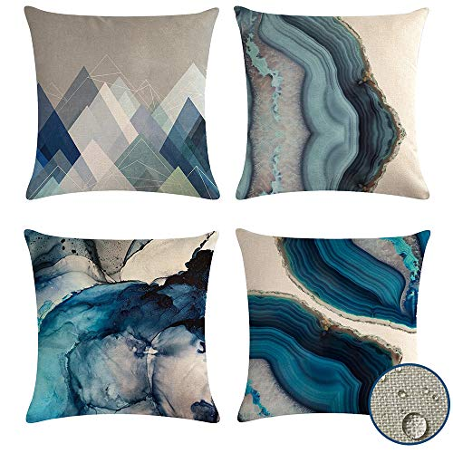 Decorative Cushion Covers Waterproof 45 x 45, Pack of 4 Outdoor Indoor Pillow Covers, Geometric Blue Pillow Cases Teal for Bench Sofa Living Room Decoration(Ocean)