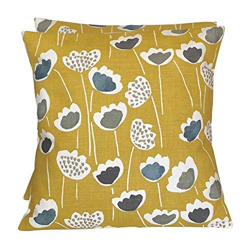 "CUSHIONS2U Pack Of Two 2 x 16 x 16"" (40cm x 40cm) Handmade Prestigious Textiles Clara Saffron Yellow Grey White Ochre Cushion Covers"