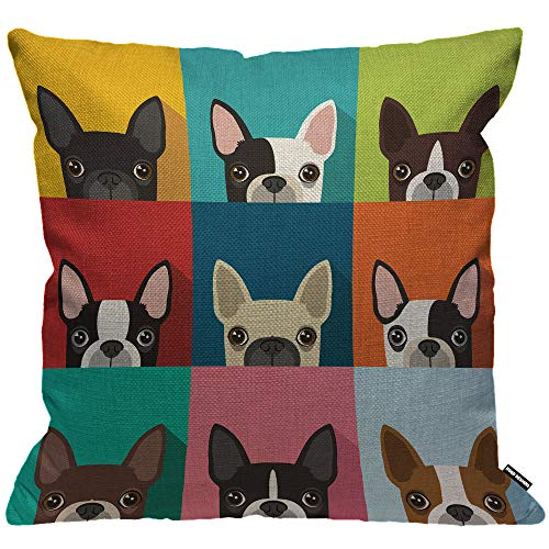 HGOD DESIGNS Dog Cushion Cover,Funny Boston Terrier Face Art Portrait Icon Throw Pillow Case Home Decorative for Men/Women Living Room Bedroom Sofa Chair 18X18 Inch Pillowcase 45X45cm