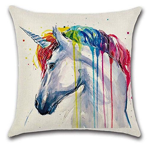 LVEDU Pillow Case 5 Patterns Colorful Animal Unicorn Printed Linen Throw Pillow Cover Cushion Cover for Home Textile 45x45cm
