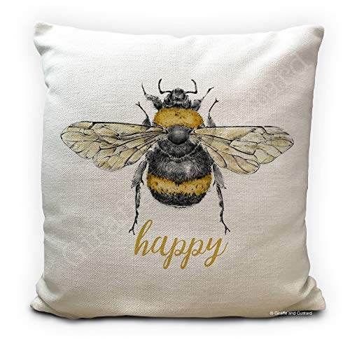 Tr73ans Bee Cushion Pillowcase Cover Bee Happy Be Happy Honey Bumble Bee vintage Illustration artwork Home Decor 40cm 16 inch