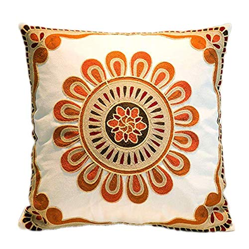 MeMoreCool Cushion Covers, Embroidered Decorative Boho Throw Pillow Case Square Cotton Indian Pillow Covers for Sofa Bedroom Living Room 45x45cm, Modern Floral Pattern Pillowcases