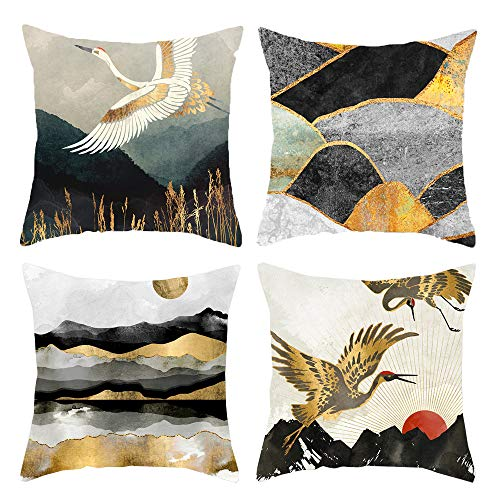 HOSTECCO Nature Landscape Cushion Covers Pack of 4 Gold Pillow Covers Mountain Sun Crane Square Decorative Cushion Covers for Sofa Couch 45x45 cm