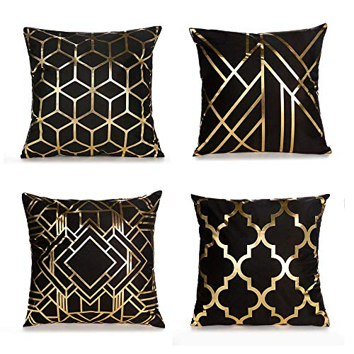 ZEYUE Super Soft Black Bronzing Cushion Cover, Square Pillowcase 45 X 45cm / 18 X 18in, Super Home Decoration, Used For Sofas, Chair Backs, Cars, Etc.