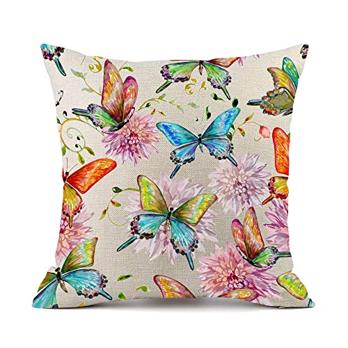 Moyun Colorful Butterfly Flowers Cushion Cover Cotton Linen Throw Pillowcase for Sofa Home Decor Gifts 45x45cm