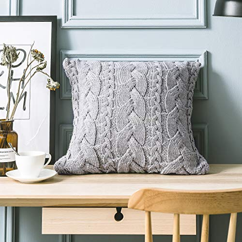 Hivexagon Cotton Knitted Decorative Pillow Case Cushion Cover 18' x 18'