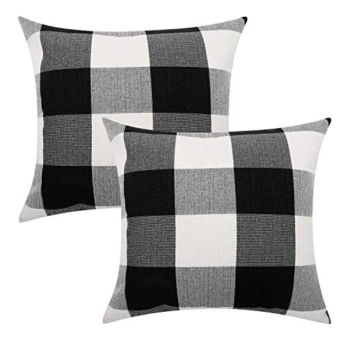 Lewondr Checkered Cushion Cover, 2 PACK Breathable Wrinkle-resistant Linen Throw Pillow Case Protector Plaid Cushion Cover Home Decor 18 x 18 Inch - Black&White