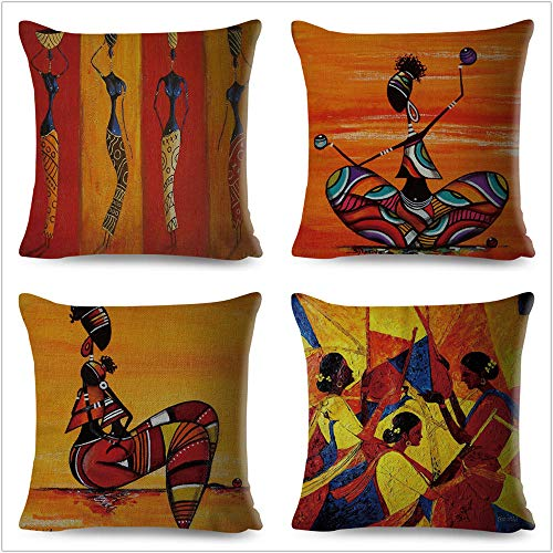 JWEK Cushion Cover Set Of 4 Abstract Orange Painting African Life Collection African Woman Home Decor Pillow Cover Gallery Exotic Restaurant Cushion Cover 45X45Cm