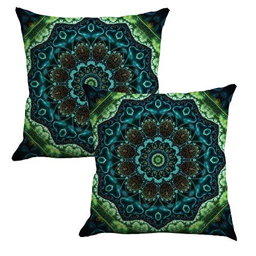 Bubunix 2 pieces decorative floral pillow cases mandala pillow covers 45 X 45 cm, cotton linen pillow cases hippie bohemian decorative pillow cover for bedroom office outdoor decor (Style 7)