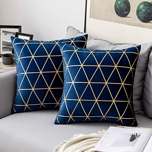 MIULEE Velvet Cushion Covers Gilded Modern Throw Pillow Cover Square Decorative Navy and Gold Pillows with Gold Lines Soft Home for Sofa Living Room Bedroom 20 x 20 Inch 50 x 50 cm Pack of 2