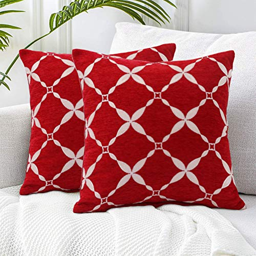 WEIXINHAI 2 Pack Throw Pillow Cover Cushion Covers 18'X18' / 45 X 45cm - Home Decorative Solid Square Pillowcase Handmade With Invisible Zipper