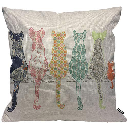 HGOD DESIGNS Cushion Cover Colorful Creative Cared Cats,Throw Pillow Case Home Decorative for Men/Women Living Room Bedroom Sofa Chair 18X18 Inch Pillowcase 45X45cm