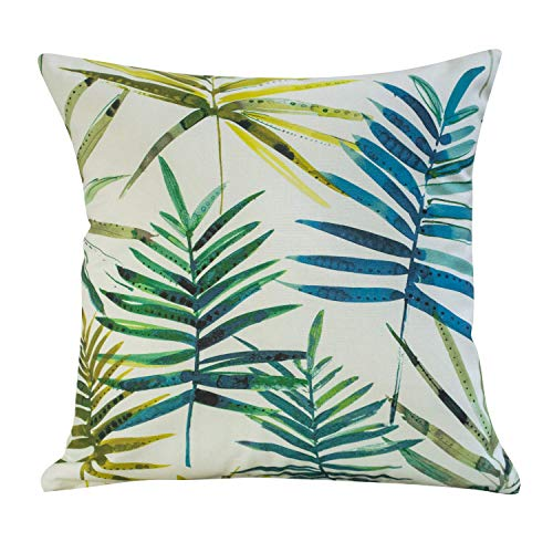 Tropical Teal Blue and Green Palm Leaf Cushion Cover. 17' x 17' (45cm) Square Pillow Case. Handmade in the UK from 100% Cotton. Painted watercolour style.