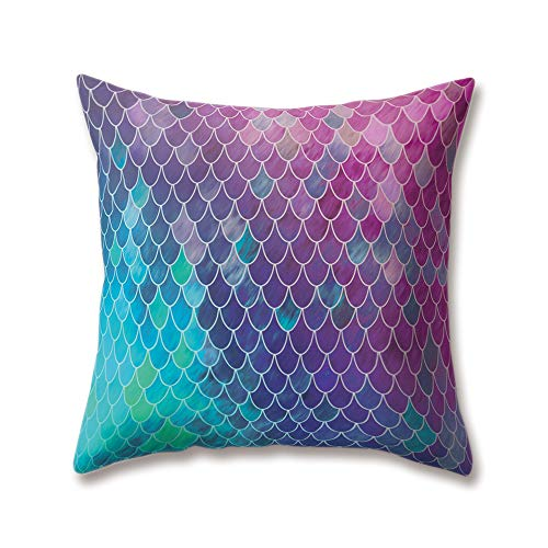 Hengjiang WEIANG Soft Plush Pink Green Purple Cushion Covers Mermaid Shells Scales Artistic Printing 18x18/45x45cm Throw Soft Plain Pillow Cases For Home Sofa Bed Decorative