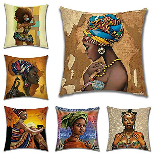 TGP Set of 6 Cushion Cover African Woman,Throw Pillow Case Home Decorative for Men/Women Living Room Bedroom Sofa Chair 18X18 Inch Pillowcase 45X45cm (01)