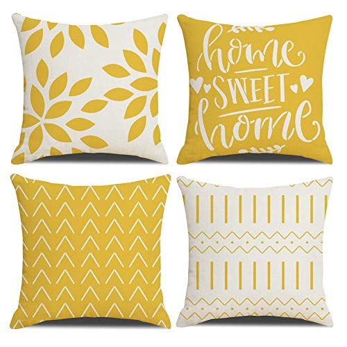 Homefeelzydys Cushion Covers,Cushion Covers 60 x 60 set of 4 Yellow Square Throw Pillow Case cushion covers 24x24 4Pack For Outdoor Patio Garden Blench Living Room Sofa Farmhouse Decor