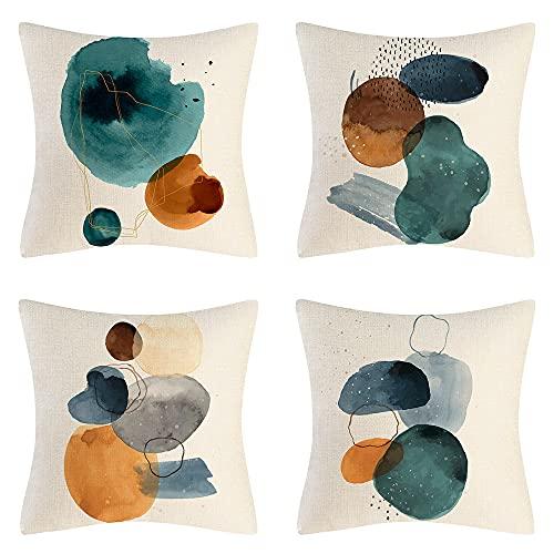 Outdoor Waterproof Cushion Cover, 4 Pieces of Abstract Art Cotton Linen Throw Pillow Cover, 45x45cm, Suitable for Garden, Terrace, Bench, Sofa, Farmhouse Decorative Cushion Cover (H)