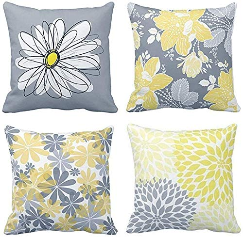 TOMMO Set of 4 Cushion Covers 40x40cm Grey and Yellow Modern Daisy with Pretty White Floral Hand Couch Sofa Decorative Throw Pillow Covers Pillow Cases Cushion Home Decor Square 16x16 Inches