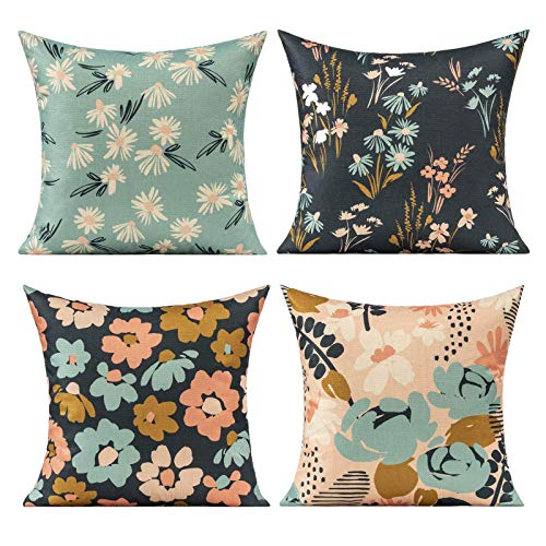 Outdoor Summer Flowers Cushion Covers Decorative Colorful Modern Pattern Spring Floral Cushion Cases 18x18 Inches Set of 4, Blue Black Throw Pillow Covers Home Decor for Sofa Couch Office, Pink White