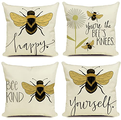 KUNQIAN Cushion Covers Bee Cushions Throw Pillow Cover Set Of 4 Home Decorative For Sofa Living Room Durable Thick Linen Square Outside Garden Outdoor Office 18 x 18 Inch(45x45cm)