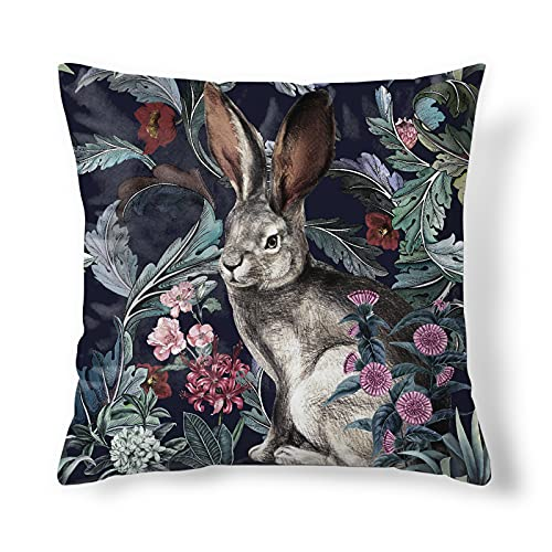 Obal Rabbit Cushion Covers Original Design Velvet Pillow Case Square Decorative Throw Pillow Cover 45cm x 45cm for Sofa Bed Couch Living Room Bedroom (18x18 Inch) Forest Hare