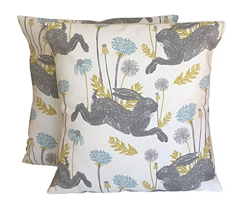 CUSHIONS2U 2 x 16' x 16' (40cm x 40cm) Pack Of Two Clarke & Clarke March Hares Mineral Blue Grey Green Off-White Cushion Covers