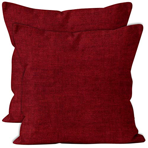 Encasa Homes Chenille Cushion Covers 2 pcs Set - Scarlet Red - 60 x 60 cm Textured Solid Colour, Soft & Smooth, Square Accent Decorative Cushion for Couch, Sofa, Chair, Bed & Floor