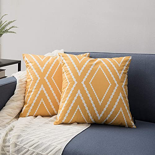 ZHILING Set of 2 Cushion Covers 40x40cm Yellow and White Line Home Decorative Square Pillow Covers Decorative Throw Pillow Covers for Sofa Couch Bed Decor with Invisible Zipper 16x16 Inches