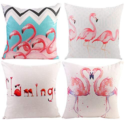 JOTOM Soft Throw Pillow Case Flamingos Sofa Car square Cushion Cover Home Bed Decor 45 x 45cm, Set of 4 (Flamingos)