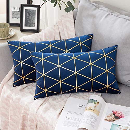 MIULEE Velvet Cushion Covers Gilded Modern Throw Pillow Cover Square Decorative Navy and Gold Pillows with Gold Lines Soft Home for Sofa Living Room Bedroom 12 x 20 Inch 30 x 50 cm Pack of 2
