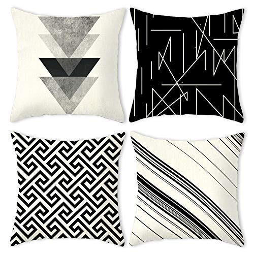 Carttiya Geometric Cushion Cover 18 x 18 Inch, Square Throw Pillow Case 45 x 45 cm Set of 4, White Black Lines Art Style Cotton Linen Home Decor Christmas Cushion Covers for Sofa Couch Bed Chair