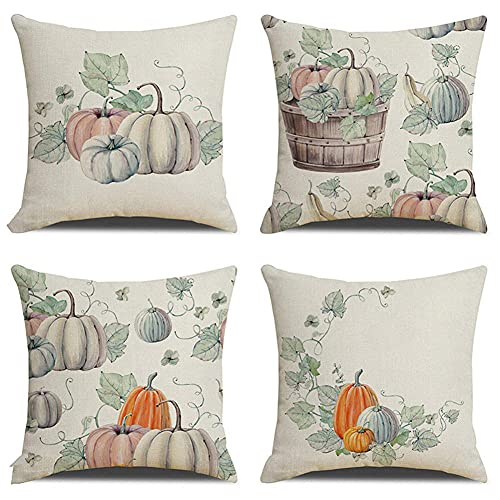 Cushion Covers 70x70cm/28x28in Pumpkin Leaves Set of 4 - Cotton Linen Throw Pillow Case Soft Sofa Bed Chair Cushion Covers Square Pillowcase,for Livingroom Office Car Bedroom Decorative Q589